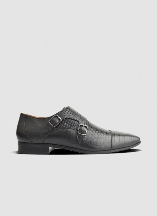 Language Shoes-Men-Ravem Monk-Premium Leather-Black Colour-Formal Shoe