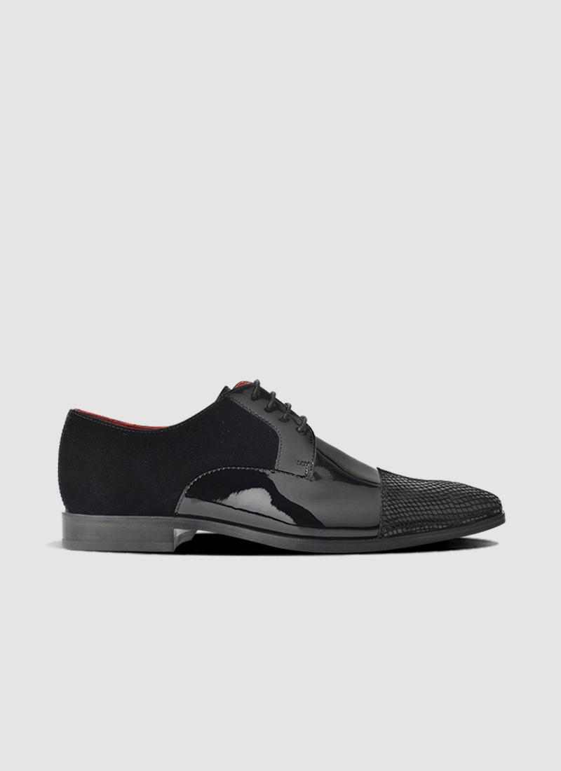 Language Shoes-Men-Raphael Derby-Combination of Leather/Fabric-Black Colour-Formal Shoe