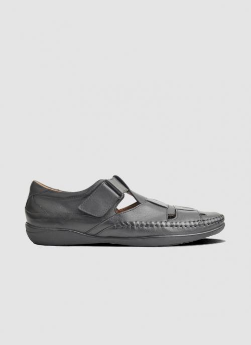 Language Shoes-Men-Veca Sandal-Premium Leather-Black Colour-Sandal
