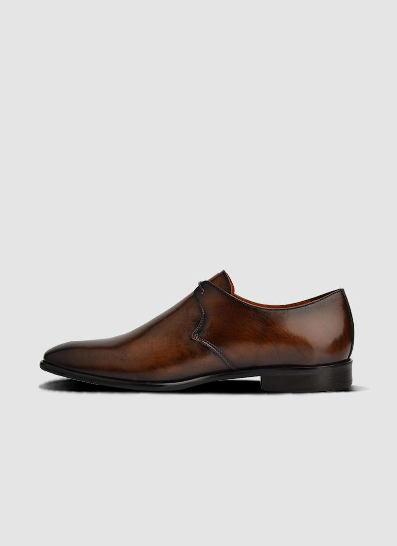 Language Shoes-Men-Fisher Derby-Premium Leather-Brown Colour-Formal Shoe