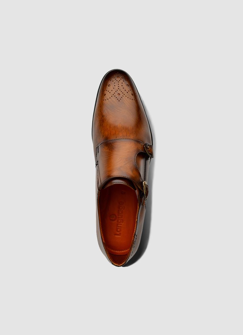 Language Shoes-Men-Maybri Monk-Premium Leather-Tan Colour-Formal Shoe