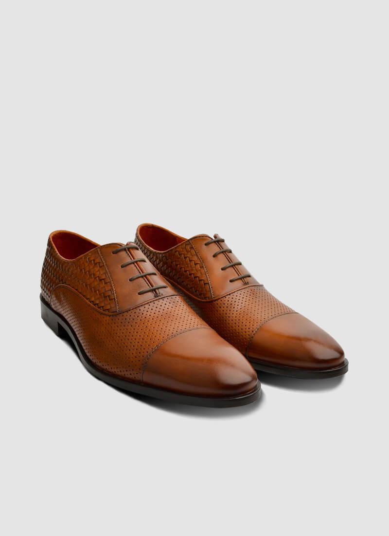 Language Shoes-Men-Del Oxford-Premium Leather-Tan Colour-Formal Shoe