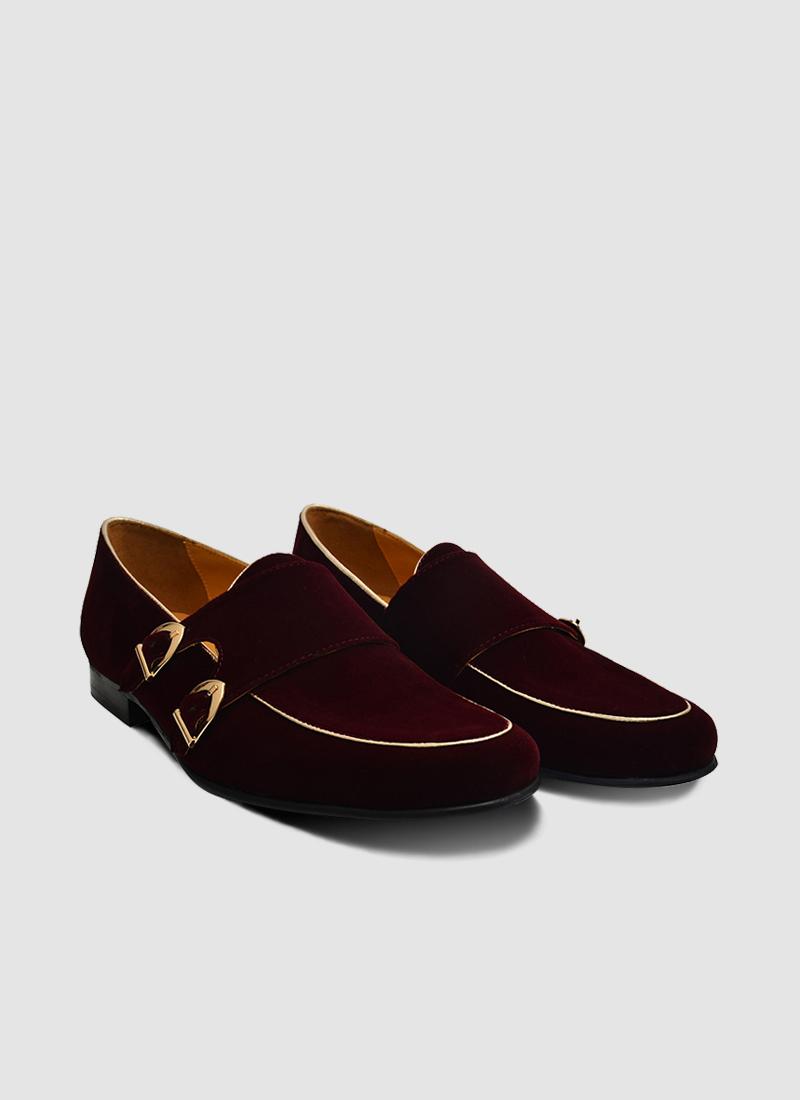 Language Shoes-Men-Date Monk-Fabric-Wine Colour-Formal Shoe