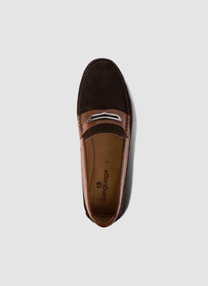 Language Shoes-Men-Lesk Driver-Premium Leather-Brown Colour-Casual Shoe