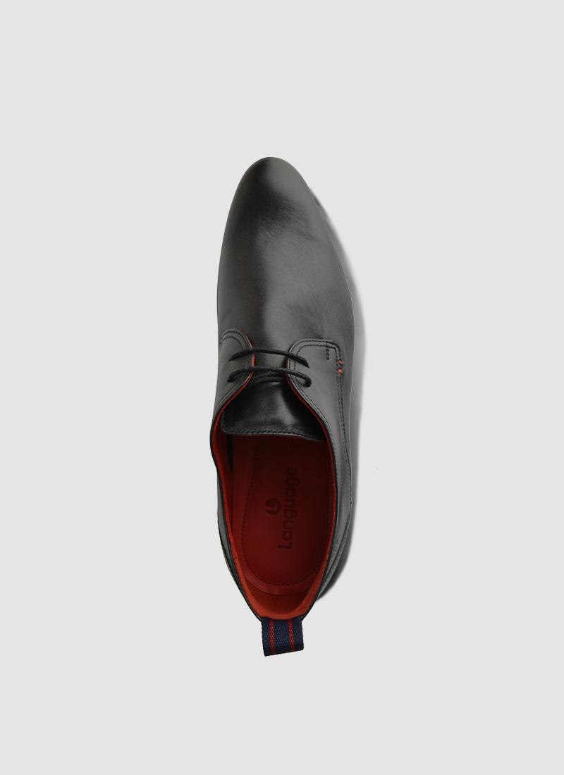 Language Shoes-Men-Kant Derby-Premium Leather-Black Colour-Formal Shoe