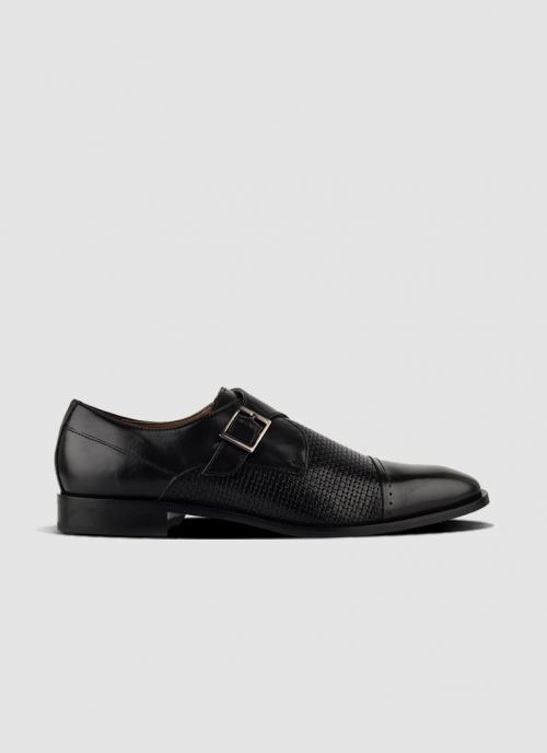 Language Shoes-Men-Sigils Monk-Premium Leather-Black Colour-Formal Shoe