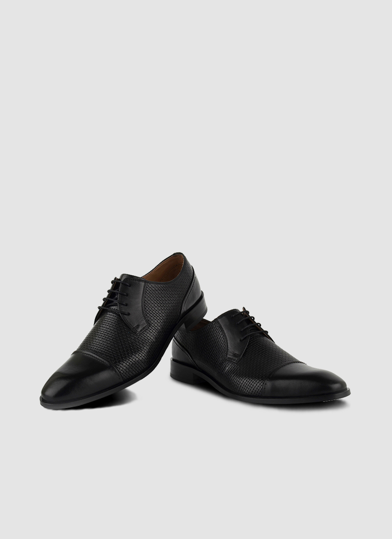 Language Shoes-Men-Marchio Derby-Premium Leather-Black Colour-Formal Shoe