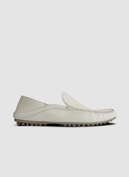 Language Shoes-Men-Rehat Driver-Premium Leather-White Colour-Casual Shoe