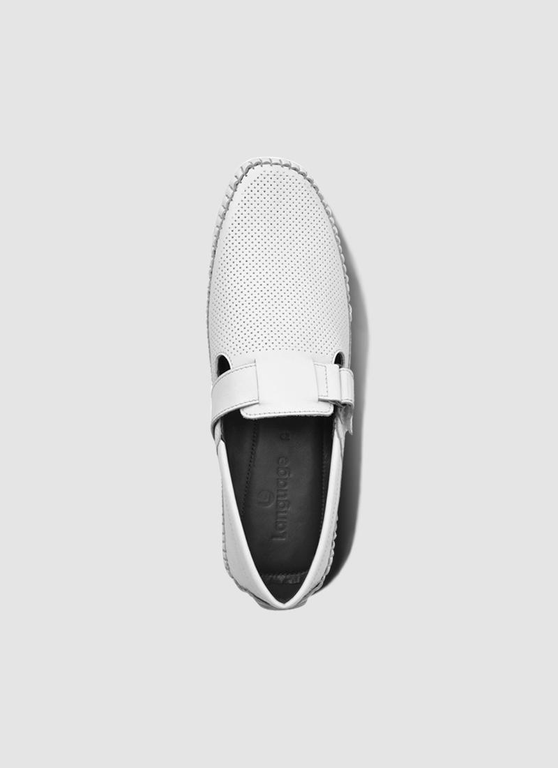 Language Shoes-Men-Dwayne Driver-Premium Leather-White Colour-Casual Shoe