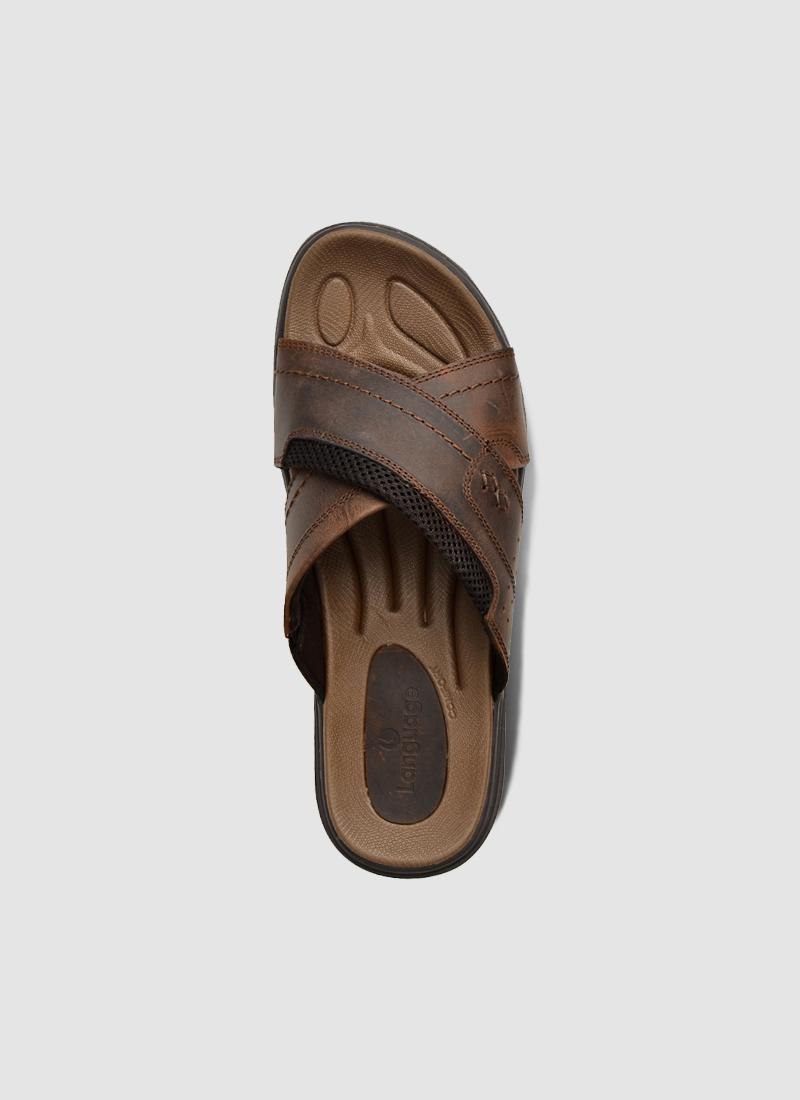 Language Shoes-Men-Aron Sandal-Premium Leather-Brown Colour-Sandal