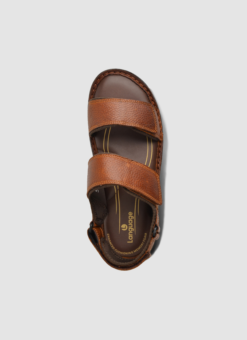 Language Shoes-Men-Joey Sandal-Premium Leather-Tan Colour-Sandal