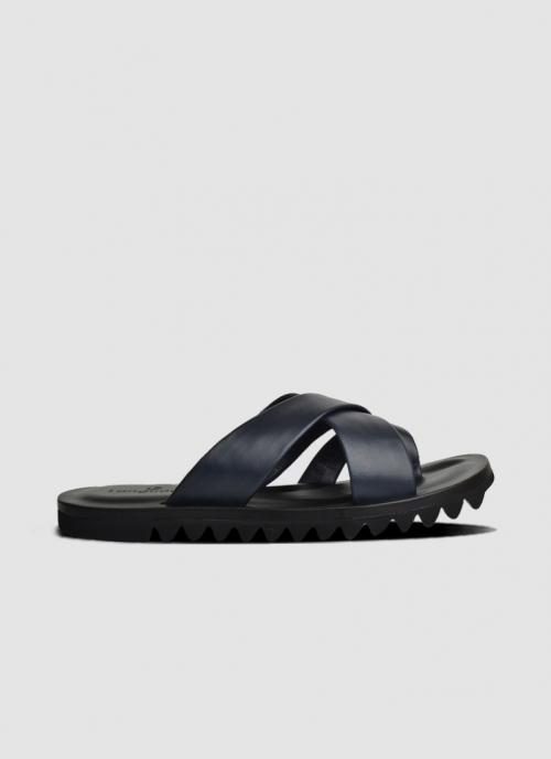 Language Shoes-Men-Liam Sandal-Premium Leather-Navy Colour-Sandal