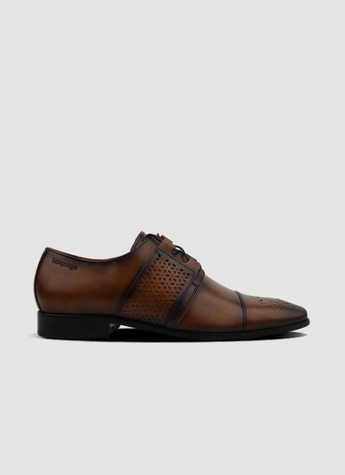Language Shoes-Men-Retro Derby-Premium Leather-Tan Colour-Formal Shoe