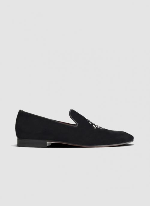 Language Shoes-Men-Joker Loafer-Fabric-Black Colour-Formal Shoe