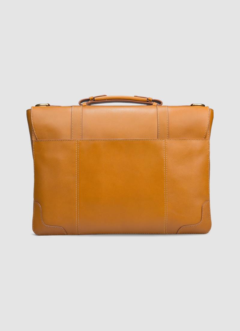 Language Shoes-Men-Jones Briefcase-Premium Leather-Tan Colour-Leather Accessories