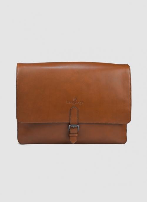 Language Shoes-Men-Mikkel Laptop Bag-Premium Leather-Tan Colour-Leather Accessories