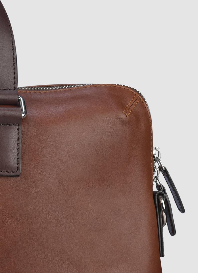 Language Shoes-Men-Bonzo Laptop Bag-Premium Leather-Brown Colour-Leather Accessories