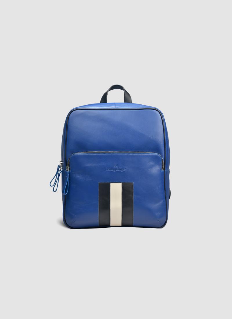 Language Shoes-Men-Sporty Backpack-Premium Leather-Blue Colour-Leather Accessories