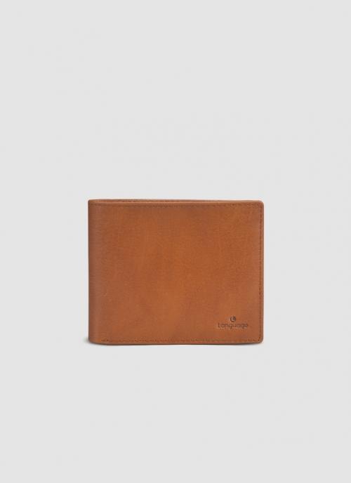 Language Shoes-Men-Shrilk Bi-fold Wallet-Premium Leather-Tan Colour-Leather Accessories