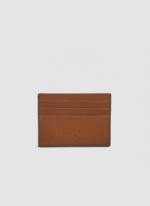 Language Shoes-Men-Luna Card Holder-Premium Leather-Tan Colour-Leather Accessories