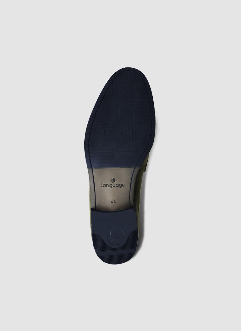 Language Shoes-Men-Jim Loafer-Fabric-Green Colour-Formal Shoe