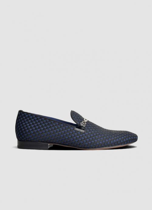 Language Shoes-Men-Score Loafer-Fabric-Black Colour-Formal Shoe