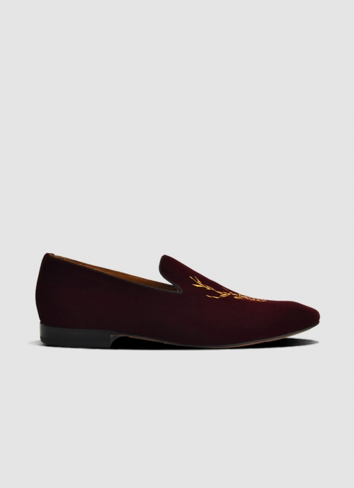 Language Shoes-Men-Levi Loafer-Fabric-Wine Colour-Formal Shoe