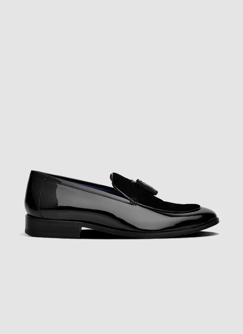 Language Shoes-Men-August Loafer-Combination of Leather/Fabric-Black Colour-Formal Shoe