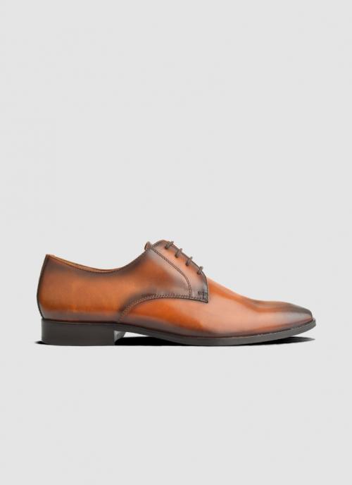 Language Shoes-Men-Dark Derby-Premium Leather-Tan Colour-Formal Shoe