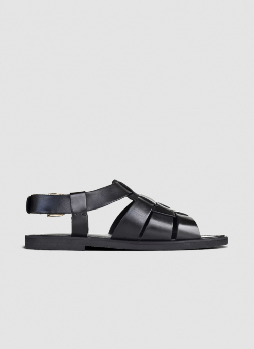 Language Shoes-Men-Cinder Sandal-Premium Leather-Black Colour-Sandal