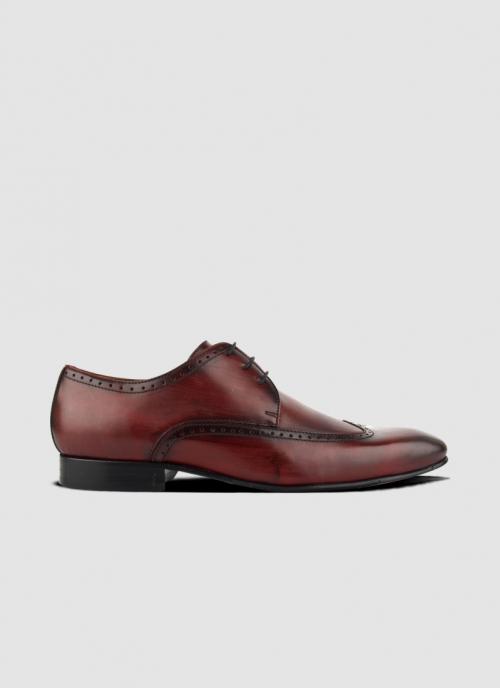 Language Shoes-Men-ArIan Derby-Premium Leather-Wine Colour-Formal Shoe