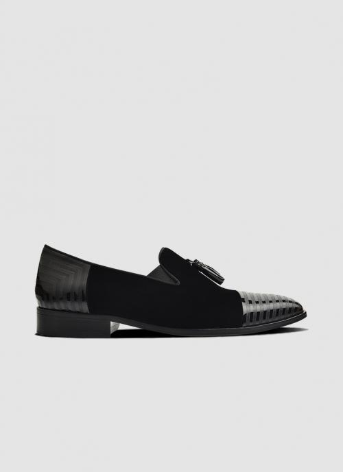 Language Shoes-Men-Rebel Loafer-Combination of Leather/Fabric-Black Colour-Formal Shoe