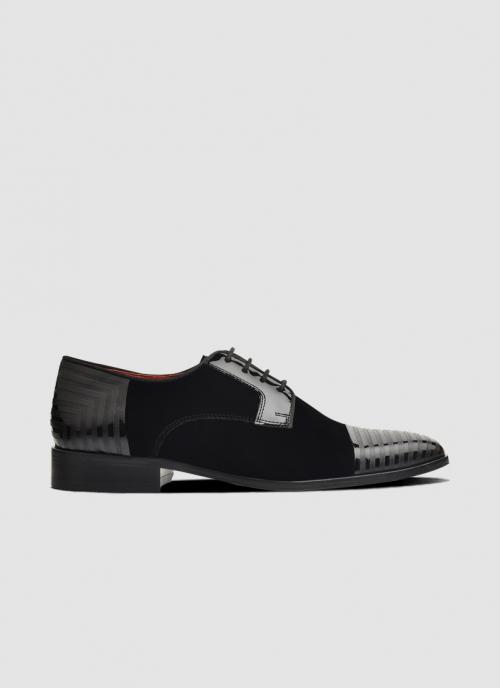 Language Shoes-Men-Reid Derby-Combination of Leather/Fabric-Black Colour-Formal Shoe