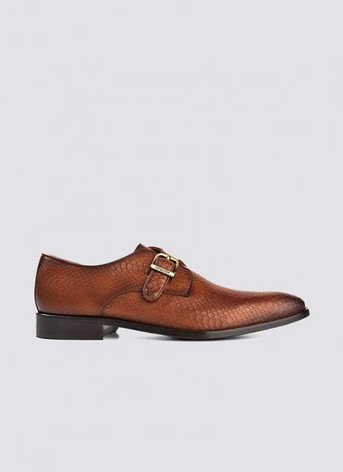 Language Shoes-Men-Smith Monk-Premium Leather-Tan Colour-Formal Shoe