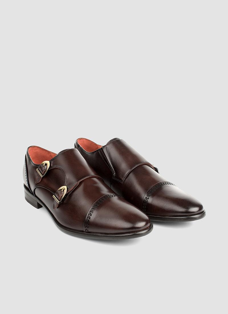 Language Shoes-Men-Amber Monk-Premium Leather-Brown Colour-Formal Shoe