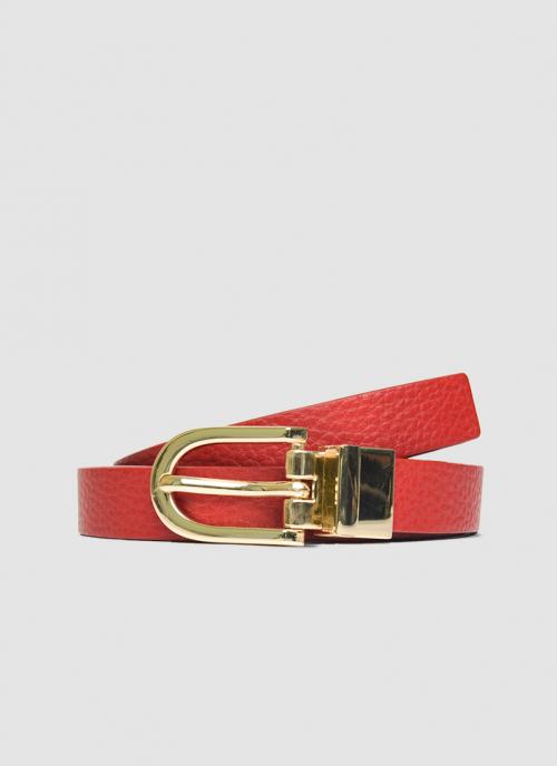 Language Shoes-Women-Eliza Belt-Premium Leather-Red/Black Colour-Belt
