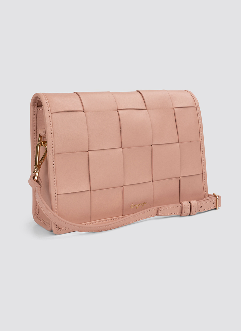 Language Shoes-Women-Mosaic Cross Body-Premium Leather-Pink Colour-Leather Accessories
