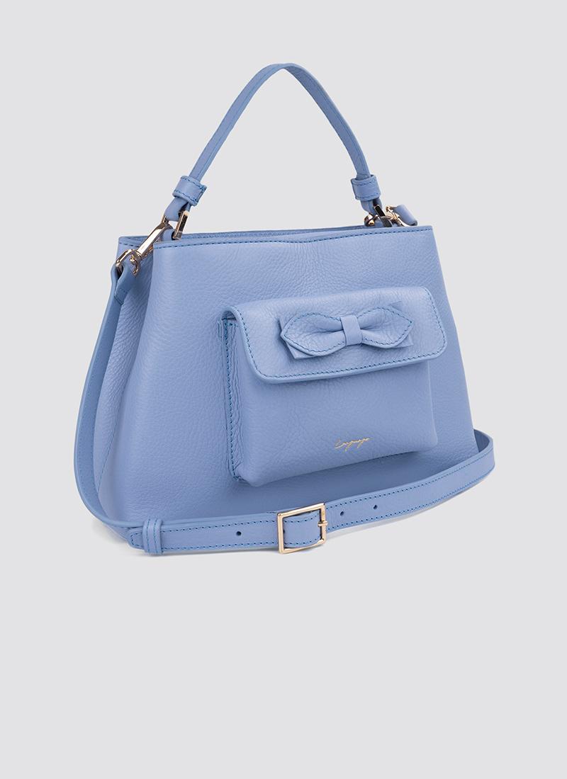 Language Shoes-Women-Flamingo Hand Bag-Premium Leather-Blue Colour-Leather Accessories