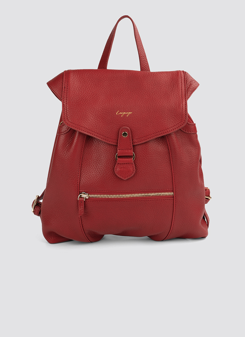 Language Shoes-Women-Oyester Backpack-Premium Leather-Red Colour-Leather Accessories