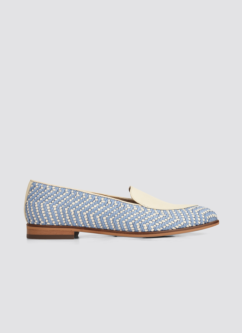 Language Shoes-Women-Maia Loafer-Premium Leather-Blue/Ecru Colour-Formal Shoe