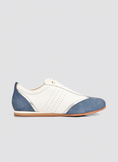Language Shoes-Women-Harmonia Sneaker-Premium Leather-White/Blue Colour-Sneaker