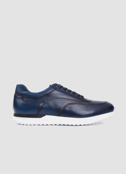 Language Shoes-Men-Dionysus Sneaker-Premium Leather-Navy Colour-Sneaker