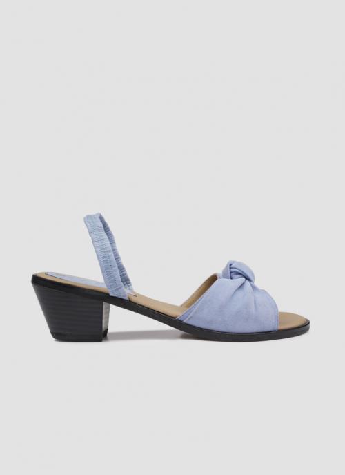 Language Shoes-Women-Merope Slide-Premium Leather-Blue Colour-Sandal