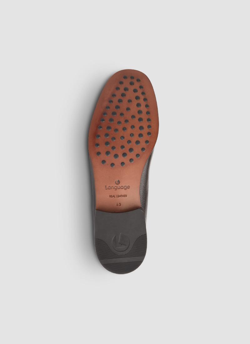 Language Shoes-Men-Eurus Moccasin-Deerskin Leather-Brown Colour-Formal Shoe
