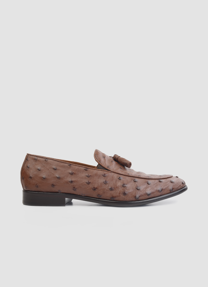 Language Shoes-Men-Crios Loafer-Ostrich Leather-Tan Colour-Formal Shoe