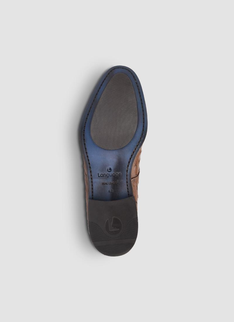 Language Shoes-Men-Apollo Derby-Ostrich Leather-Tan Colour-Formal Shoe